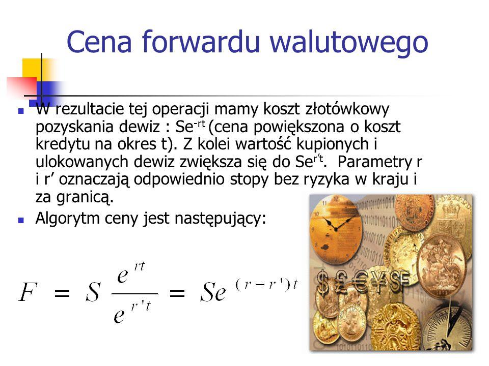 12 Cena forwardu walutowego W rezultacie tej operacji mamy koszt złotówkowy pozyskania dewiz : Se -rt (cena powiększona o koszt kredytu na okres t). Z