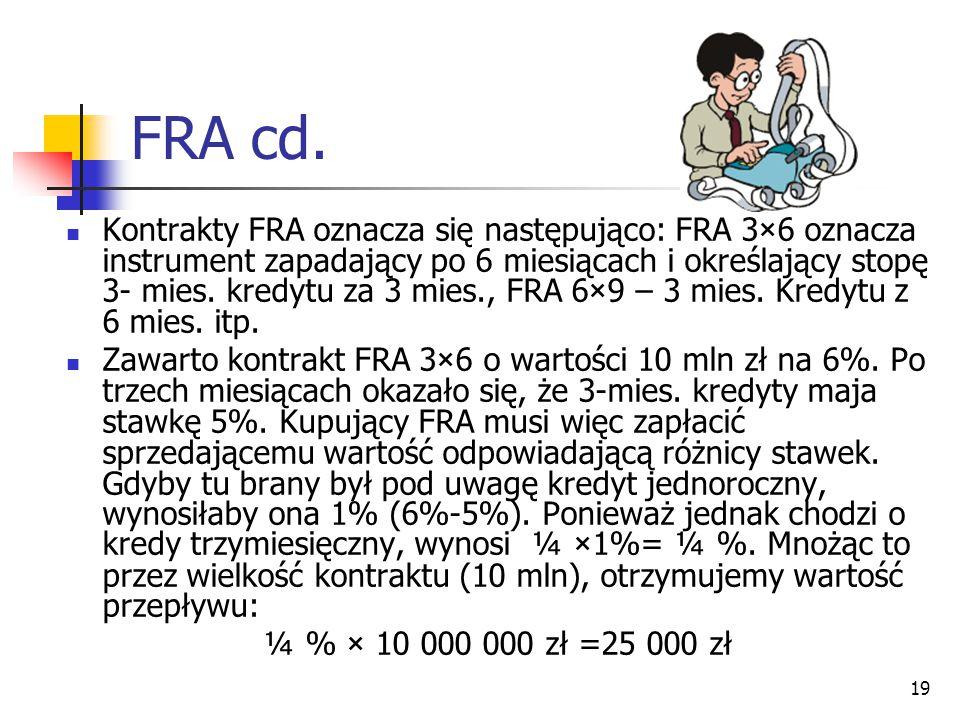 19 FRA cd. Kontrakty FRA oznacza się następująco: FRA 3×6 oznacza instrument zapadający po 6 miesiącach i określający stopę 3- mies. kredytu za 3 mies