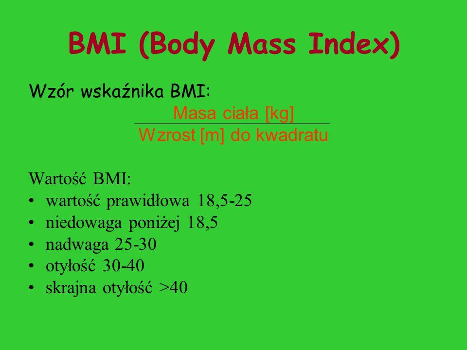 BMI (Body Mass Index) Wzór wskaźnika BMI: Masa ciała [kg] Wzrost [m] do kwadratu Wartość BMI: wartość prawidłowa 18,5-25 niedowaga poniżej 18,5 nadwaga 25-30 otyłość 30-40 skrajna otyłość >40