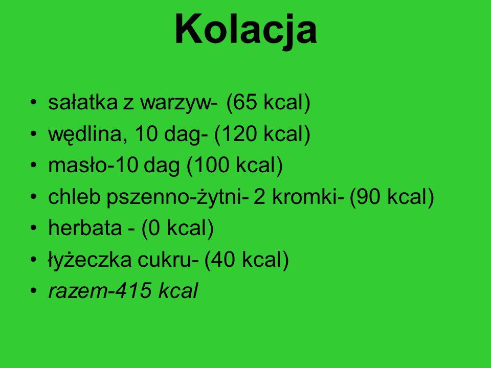 Kolacja sałatka z warzyw- (65 kcal) wędlina, 10 dag- (120 kcal) masło-10 dag (100 kcal) chleb pszenno-żytni- 2 kromki- (90 kcal) herbata - (0 kcal) łyżeczka cukru- (40 kcal) razem-415 kcal