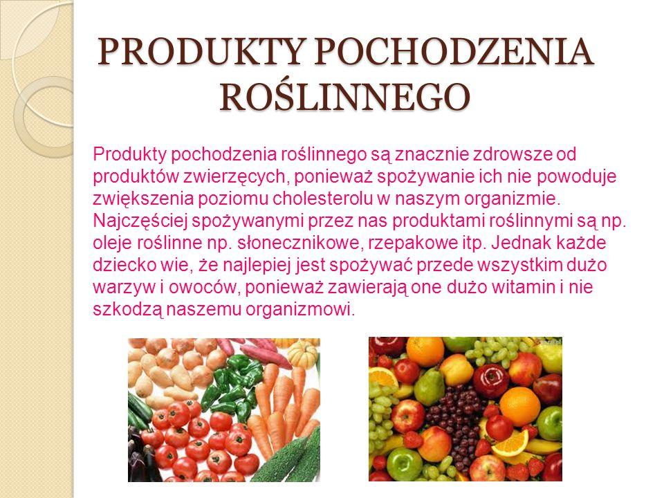 PRODUKTY POCHODZENIA ROŚLINNEGO Produkty pochodzenia roślinnego są znacznie zdrowsze od produktów zwierzęcych, ponieważ spożywanie ich nie powoduje zw