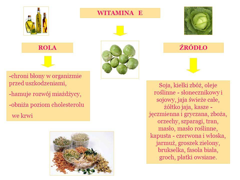 ROLAŹRÓDŁO WITAMINA E -chroni błony w organizmie przed uszkodzeniami, -hamuje rozwój miażdżycy, -obniża poziom cholesterolu we krwi Soja, kiełki zbóż, oleje roślinne - słonecznikowy i sojowy, jaja świeże całe, żółtko jaja, kasze - jęczmienna i gryczana, zboża, orzechy, szparagi, tran, masło, masło roślinne, kapusta - czerwona i włoska, jarmuż, groszek zielony, brukselka, fasola biała, groch, płatki owsiane.