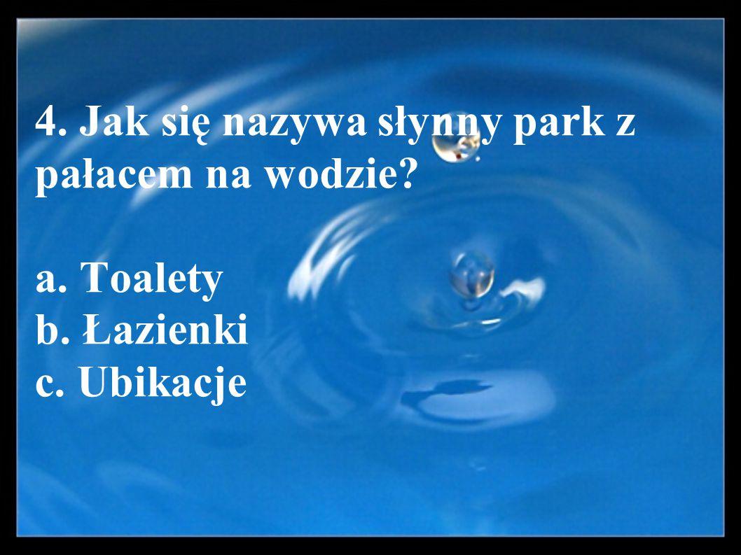 4. Jak się nazywa słynny park z pałacem na wodzie? a. Toalety b. Łazienki c. Ubikacje
