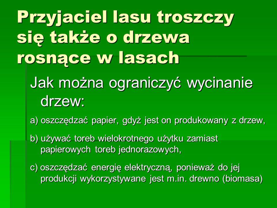 Przyjaciel lasu troszczy się także o drzewa rosnące w lasach Jak można ograniczyć wycinanie drzew: a) oszczędzać papier, gdyż jest on produkowany z dr