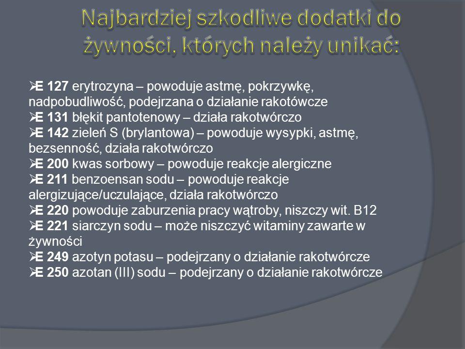  E 127 erytrozyna – powoduje astmę, pokrzywkę, nadpobudliwość, podejrzana o działanie rakotówcze  E 131 błękit pantotenowy – działa rakotwórczo  E