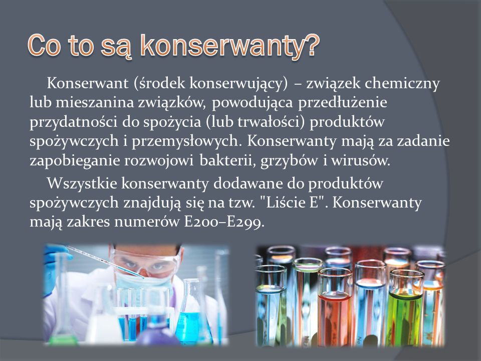  E 127 erytrozyna – powoduje astmę, pokrzywkę, nadpobudliwość, podejrzana o działanie rakotówcze  E 131 błękit pantotenowy – działa rakotwórczo  E 142 zieleń S (brylantowa) – powoduje wysypki, astmę, bezsenność, działa rakotwórczo  E 200 kwas sorbowy – powoduje reakcje alergiczne  E 211 benzoensan sodu – powoduje reakcje alergizujące/uczulające, działa rakotwórczo  E 220 powoduje zaburzenia pracy wątroby, niszczy wit.