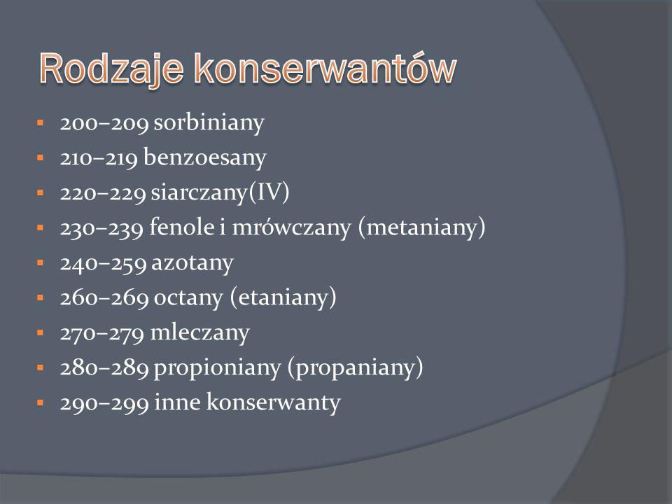 Konserwanty zagrażające zdrowiu:  E 210 – kwas benzoesowy  E 211 – benzoesan sodu  E 212 – benzoesan potasu  E 213 -benzoesan wapnia  E 214 – p-hydroksybenzoesan etylu  E 215 – etylo-p-hydroksybenzoesan sodu  E 216 – p-hydroskybenzoesan propylu  E 217 – propylo-p-hydroksybenozoesan sodu  E 218 – p-hydroksybenzoesan metylu  E 219 – metylo-p-hydroksybenzoesan sodu  E 220 – dwutlenek siarki  E 222 – wodorosiarczyn sodu