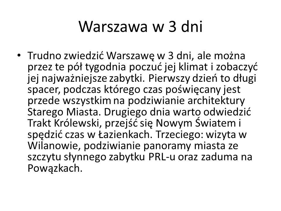 Największe atrakcje Dzień 1 Plac Zamkowy w Warszawie Zamek Królewski w Warszawie Katedra św.