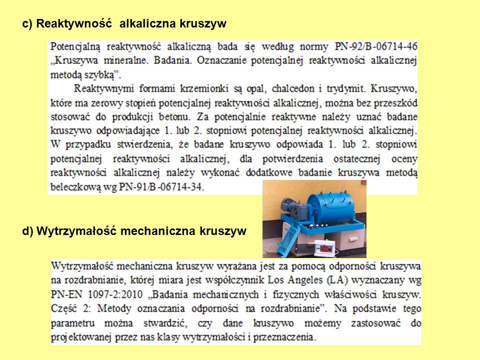 c) Reaktywność alkaliczna kruszyw d) Wytrzymałość mechaniczna kruszyw