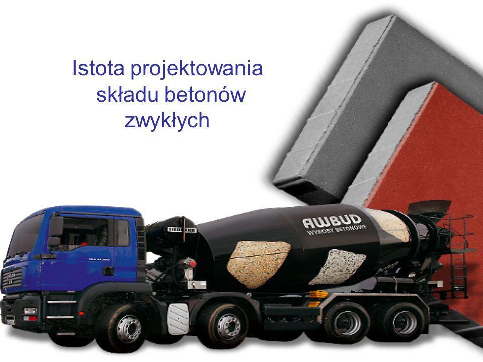 Metoda trzech równań Zazwyczaj ustalenie składu betonu polega na wyznaczeniu zawartości jego składników w 1m 3 mieszanki betonowej, tj.: c – cementu [kg] w – wody [kg] k – kruszywa [kg] których użycie powinno spełniać 3 warunki: