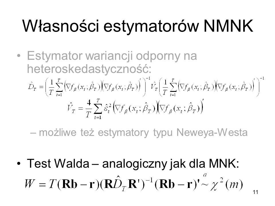 11 Własności estymatorów NMNK Estymator wariancji odporny na heteroskedastyczność: –możliwe też estymatory typu Neweya-Westa Test Walda – analogiczny jak dla MNK:
