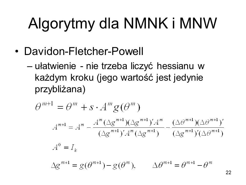 22 Algorytmy dla NMNK i MNW Davidon-Fletcher-Powell –ułatwienie - nie trzeba liczyć hessianu w każdym kroku (jego wartość jest jedynie przybliżana)