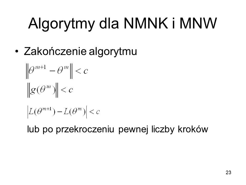 23 Algorytmy dla NMNK i MNW Zakończenie algorytmu lub po przekroczeniu pewnej liczby kroków