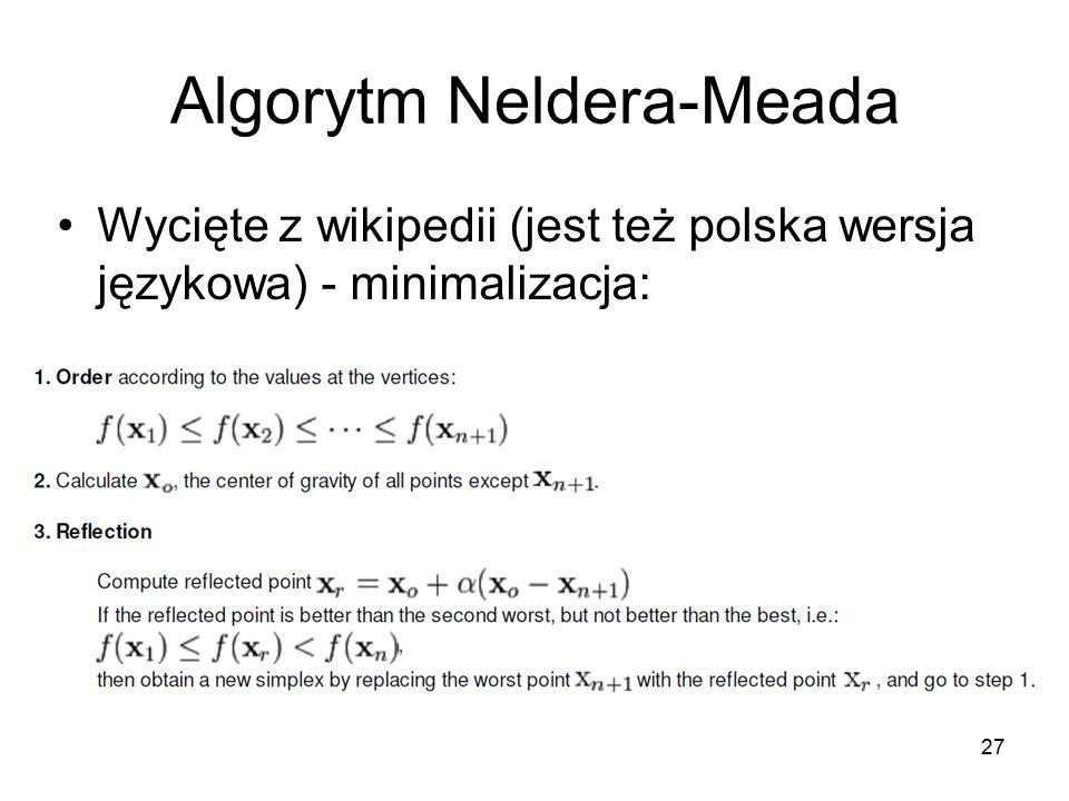Algorytm Neldera-Meada Wycięte z wikipedii (jest też polska wersja językowa) - minimalizacja: 27