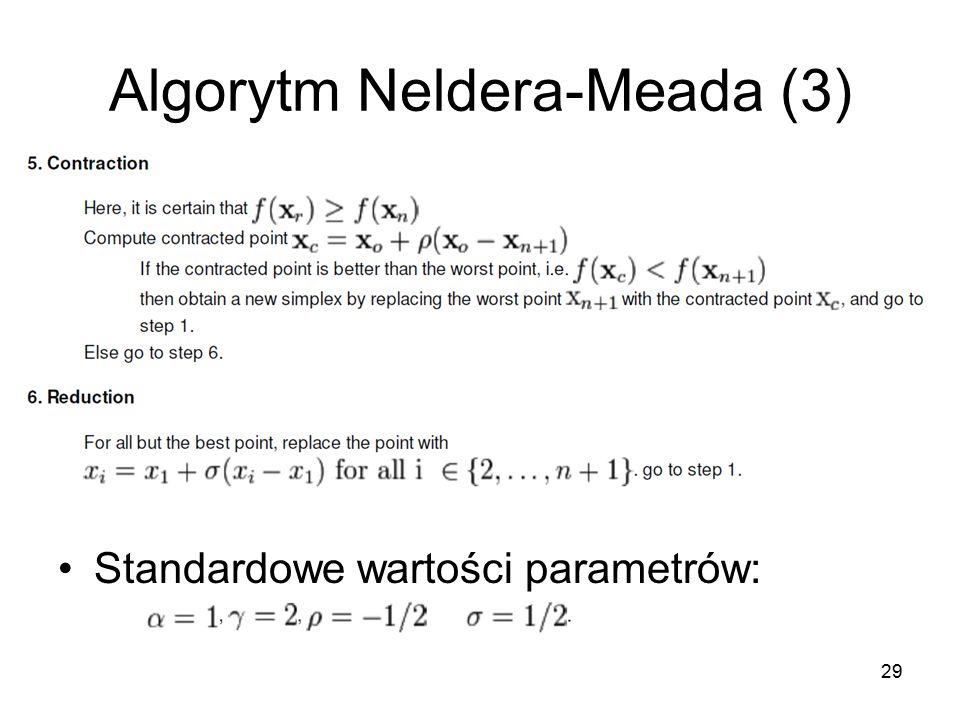 Algorytm Neldera-Meada (3) Standardowe wartości parametrów: 29