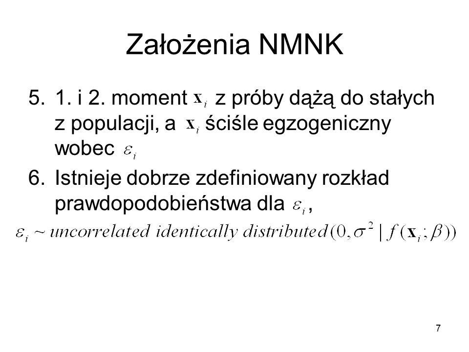 Założenia NMNK 5.1. i 2. moment z próby dążą do stałych z populacji, a ściśle egzogeniczny wobec 6.Istnieje dobrze zdefiniowany rozkład prawdopodobień