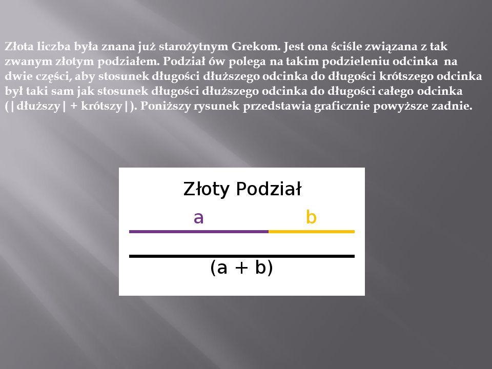 """Złotą liczbę często oznacza się symbolami greckiej litery """"Fi : Φ(fi duże) lub φ(fi małe)."""