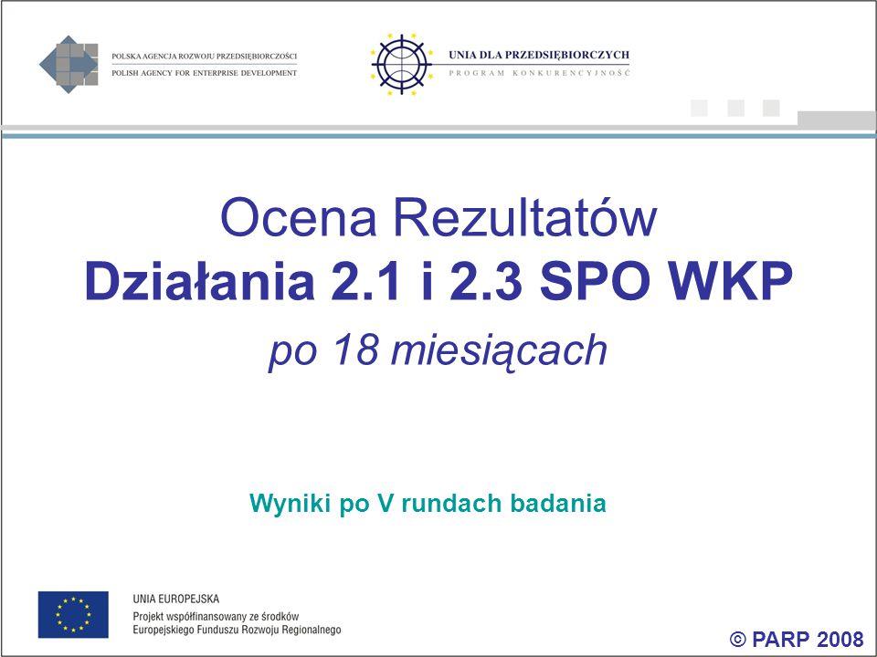 Ocena Rezultatów Działania 2.1 i 2.3 SPO WKP po 18 miesiącach Wyniki po V rundach badania © PARP 2008