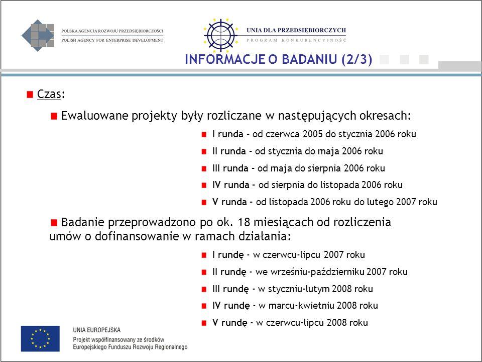 Czas: Ewaluowane projekty były rozliczane w następujących okresach: I runda – od czerwca 2005 do stycznia 2006 roku II runda – od stycznia do maja 2006 roku III runda – od maja do sierpnia 2006 roku IV runda – od sierpnia do listopada 2006 roku V runda – od listopada 2006 roku do lutego 2007 roku Badanie przeprowadzono po ok.