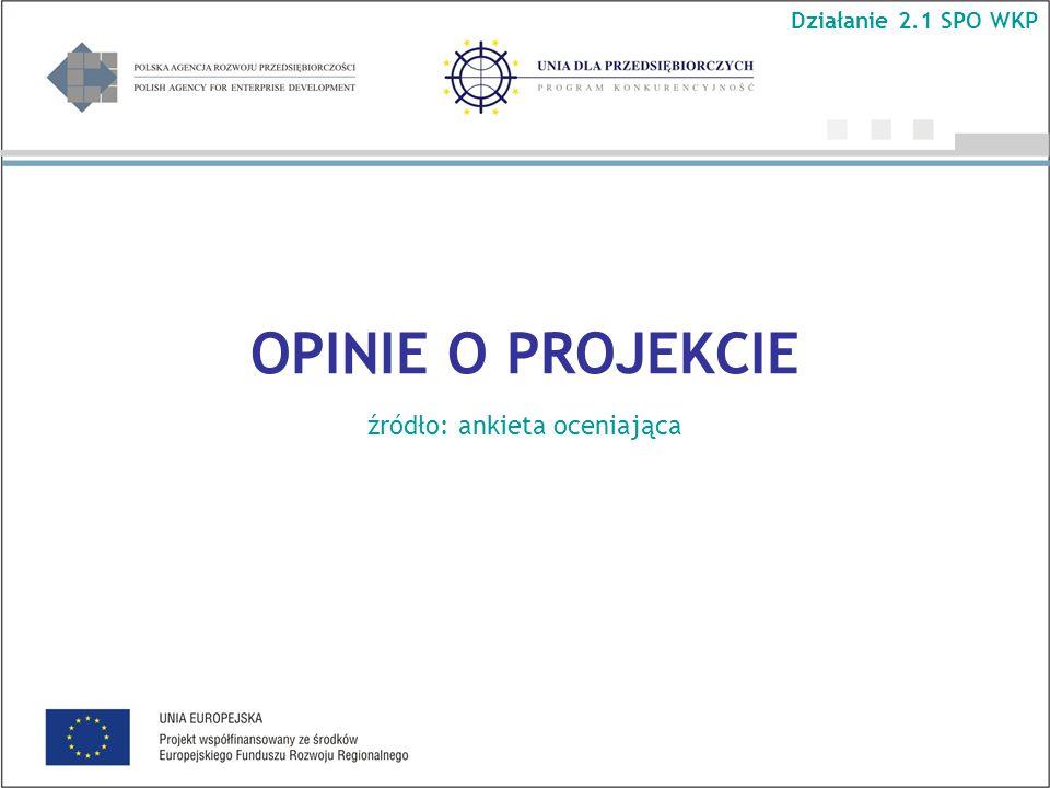 OPINIE O PROJEKCIE źródło: ankieta oceniająca Działanie 2.1 SPO WKP