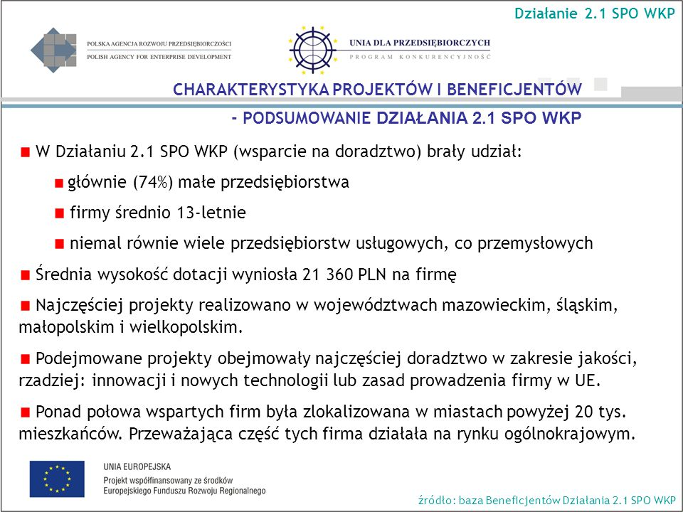 Działanie 2.1 SPO WKP źródło: Wyniki z pięciu rund badania WPŁYW PROJEKTU NA WYBRANE ASPEKTY FUNKCJONOWANIA FIRMY (3/3) P8.