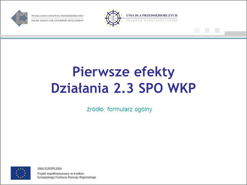 Pierwsze efekty Działania 2.3 SPO WKP źródło: formularz ogólny