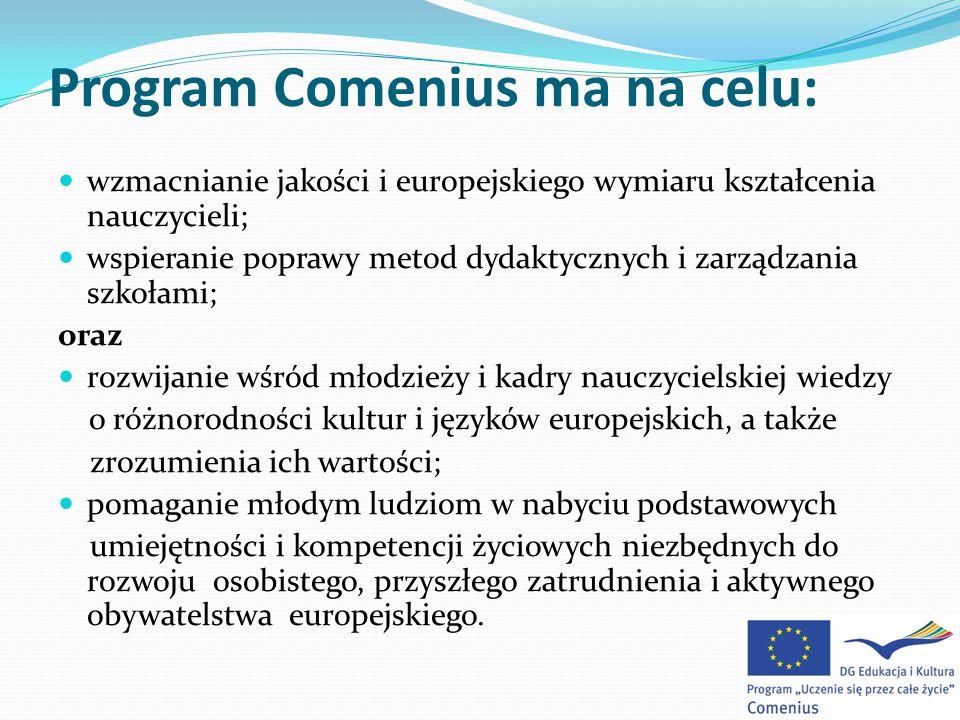 Program Comenius ma na celu: wzmacnianie jakości i europejskiego wymiaru kształcenia nauczycieli; wspieranie poprawy metod dydaktycznych i zarządzania szkołami; oraz rozwijanie wśród młodzieży i kadry nauczycielskiej wiedzy o różnorodności kultur i języków europejskich, a także zrozumienia ich wartości; pomaganie młodym ludziom w nabyciu podstawowych umiejętności i kompetencji życiowych niezbędnych do rozwoju osobistego, przyszłego zatrudnienia i aktywnego obywatelstwa europejskiego.