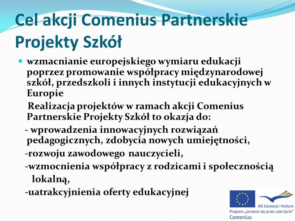 Cel akcji Comenius Partnerskie Projekty Szkół wzmacnianie europejskiego wymiaru edukacji poprzez promowanie współpracy międzynarodowej szkół, przedszkoli i innych instytucji edukacyjnych w Europie Realizacja projektów w ramach akcji Comenius Partnerskie Projekty Szkół to okazja do: - wprowadzenia innowacyjnych rozwiązań pedagogicznych, zdobycia nowych umiejętności, -rozwoju zawodowego nauczycieli, -wzmocnienia współpracy z rodzicami i społecznością lokalną, -uatrakcyjnienia oferty edukacyjnej