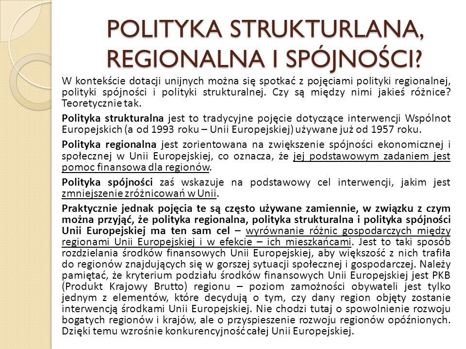POLITYKA STRUKTURLANA, REGIONALNA I SPÓJNOŚCI? W kontekście dotacji unijnych można się spotkać z pojęciami polityki regionalnej, polityki spójności i
