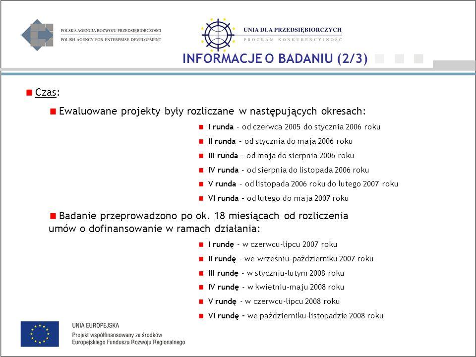 Czas: Ewaluowane projekty były rozliczane w następujących okresach: I runda – od czerwca 2005 do stycznia 2006 roku II runda – od stycznia do maja 2006 roku III runda – od maja do sierpnia 2006 roku IV runda – od sierpnia do listopada 2006 roku V runda – od listopada 2006 roku do lutego 2007 roku VI runda - od lutego do maja 2007 roku Badanie przeprowadzono po ok.