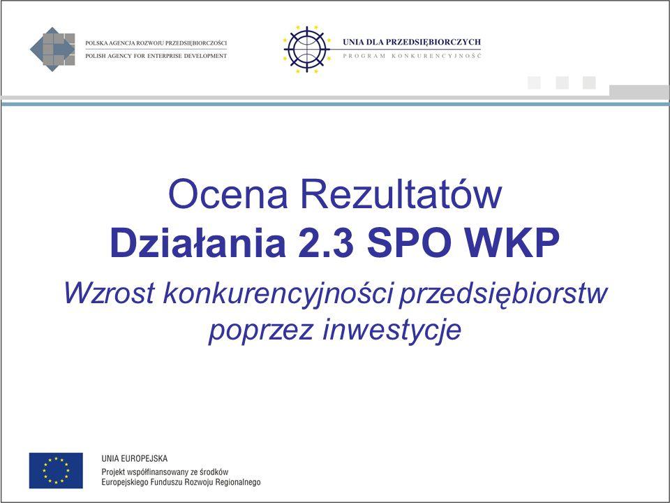 Ocena Rezultatów Działania 2.3 SPO WKP Wzrost konkurencyjności przedsiębiorstw poprzez inwestycje