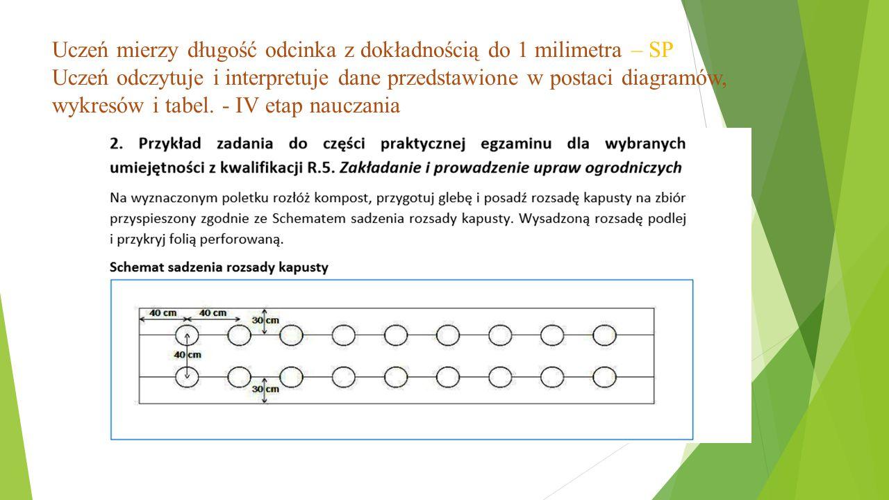 Uczeń mierzy długość odcinka z dokładnością do 1 milimetra – SP Uczeń odczytuje i interpretuje dane przedstawione w postaci diagramów, wykresów i tabe