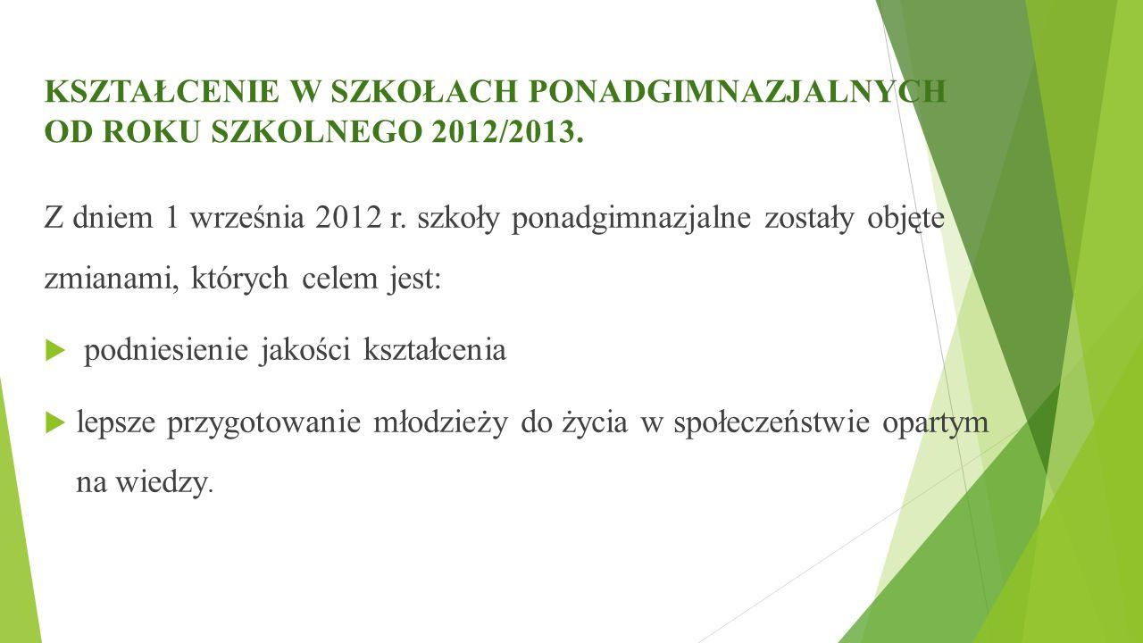 KSZTAŁCENIE W SZKOŁACH PONADGIMNAZJALNYCH OD ROKU SZKOLNEGO 2012/2013. Z dniem 1 września 2012 r. szkoły ponadgimnazjalne zostały objęte zmianami, któ