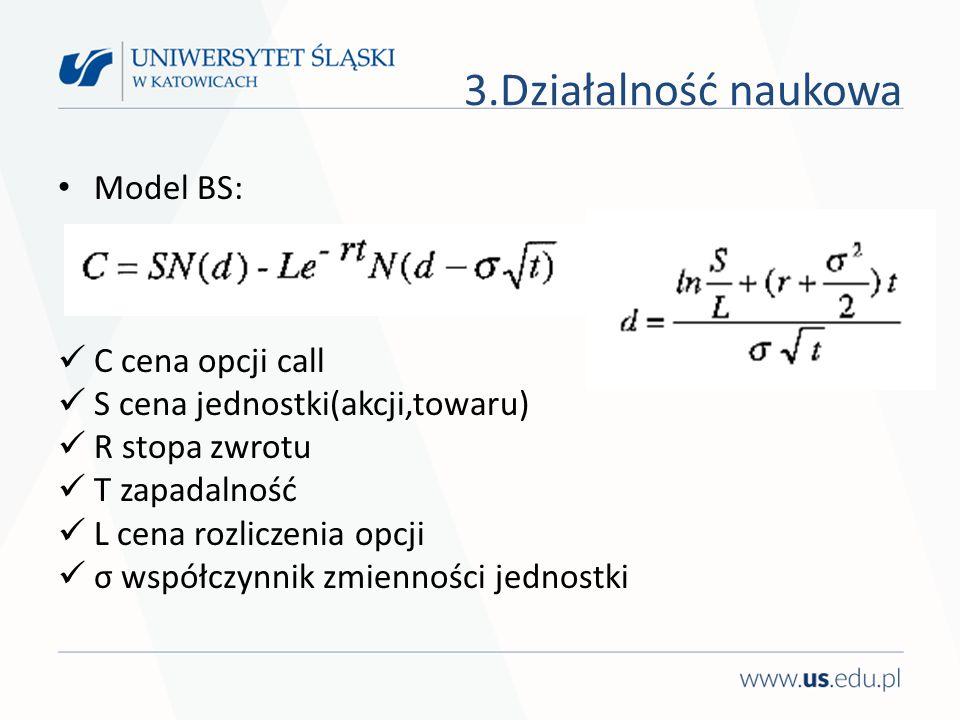 Model BS: C cena opcji call S cena jednostki(akcji,towaru) R stopa zwrotu T zapadalność L cena rozliczenia opcji σ współczynnik zmienności jednostki 3.Działalność naukowa