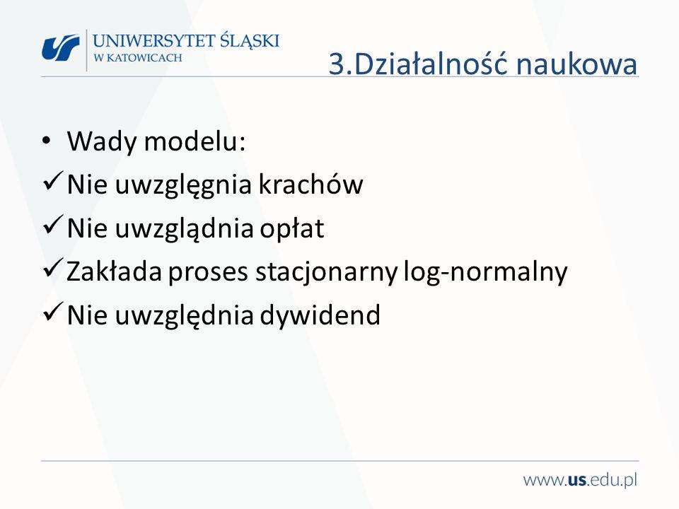 Wady modelu: Nie uwzglęgnia krachów Nie uwzglądnia opłat Zakłada proses stacjonarny log-normalny Nie uwzględnia dywidend 3.Działalność naukowa