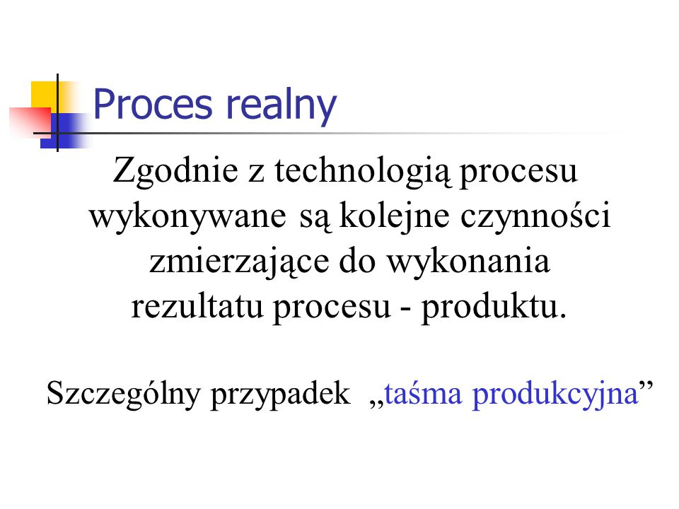 Proces realny Zgodnie z technologią procesu wykonywane są kolejne czynności zmierzające do wykonania rezultatu procesu - produktu. Szczególny przypade