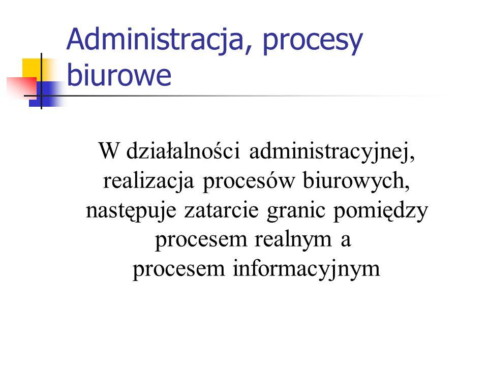 Administracja, procesy biurowe W działalności administracyjnej, realizacja procesów biurowych, następuje zatarcie granic pomiędzy procesem realnym a p