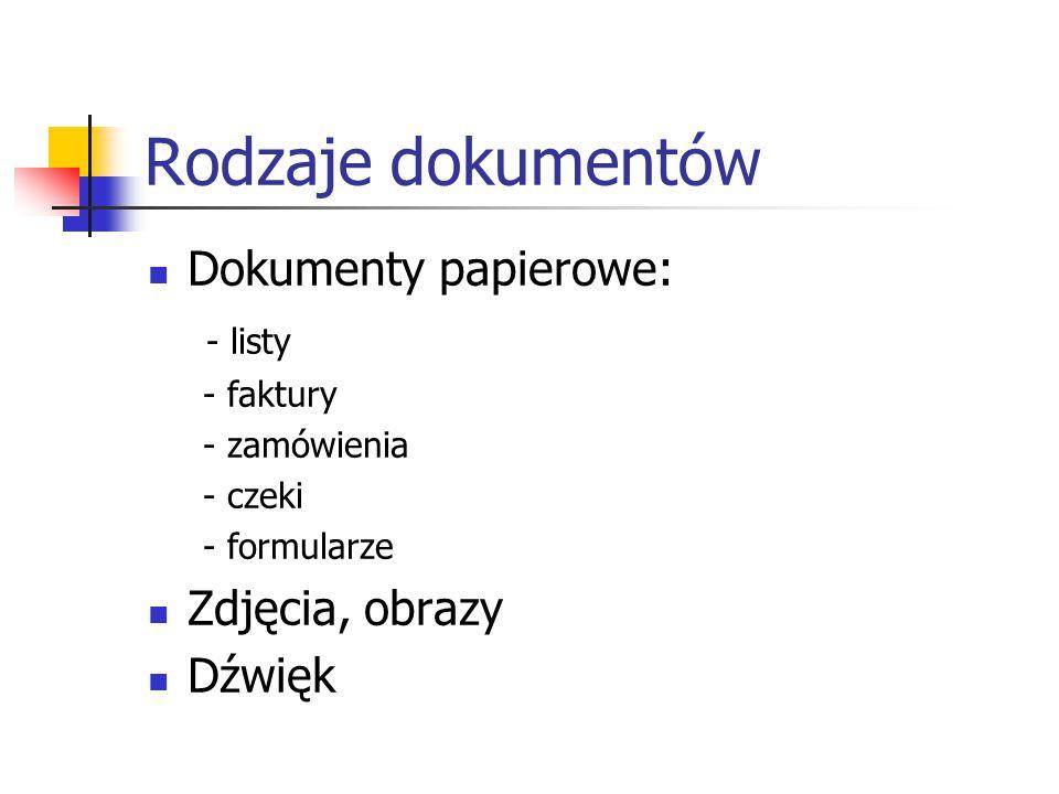 Rodzaje dokumentów Dokumenty papierowe: - listy - faktury - zamówienia - czeki - formularze Zdjęcia, obrazy Dźwięk