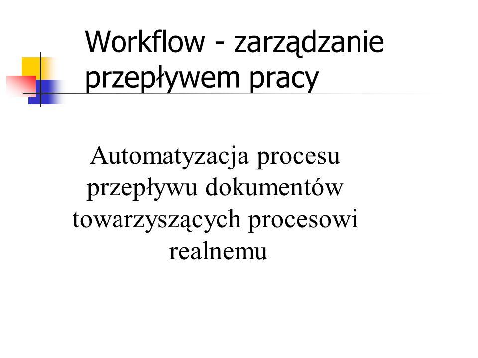 Workflow - zarządzanie przepływem pracy Automatyzacja procesu przepływu dokumentów towarzyszących procesowi realnemu
