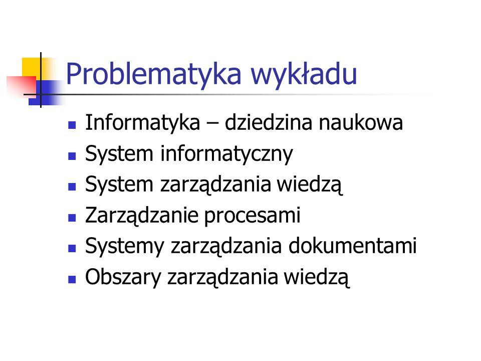 Problematyka wykładu Informatyka – dziedzina naukowa System informatyczny System zarządzania wiedzą Zarządzanie procesami Systemy zarządzania dokument