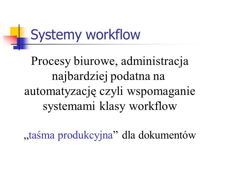 """Systemy workflow Procesy biurowe, administracja najbardziej podatna na automatyzację czyli wspomaganie systemami klasy workflow """"taśma produkcyjna"""" dl"""