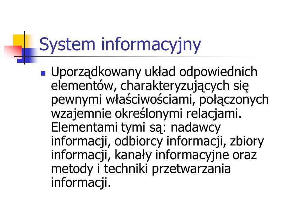 System informacyjny Uporządkowany układ odpowiednich elementów, charakteryzujących się pewnymi właściwościami, połączonych wzajemnie określonymi relac