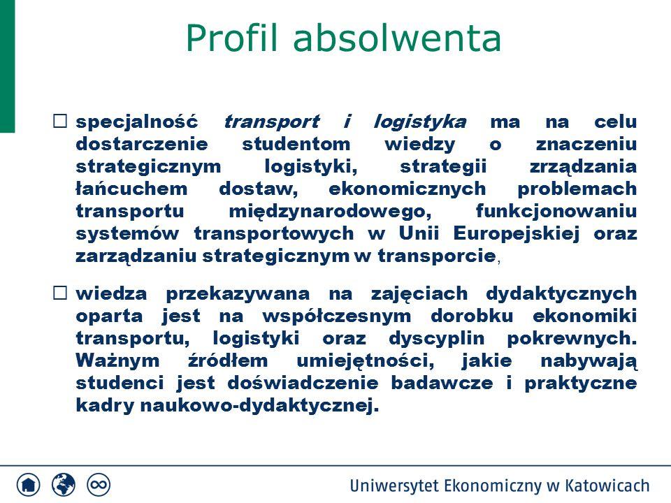 Profil absolwenta  specjalność transport i logistyka ma na celu dostarczenie studentom wiedzy o znaczeniu strategicznym logistyki, strategii zrządzan