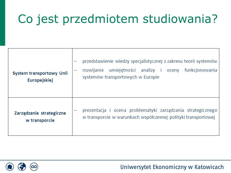 Co jest przedmiotem studiowania? System transportowy Unii Europejskiej  przedstawienie wiedzy specjalistycznej z zakresu teorii systemów  rozwijanie