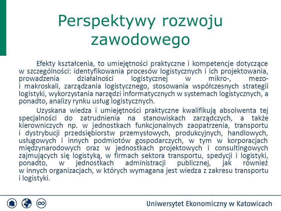 Perspektywy rozwoju zawodowego Efekty kształcenia, to umiejętności praktyczne i kompetencje dotyczące w szczególności: identyfikowania procesów logist
