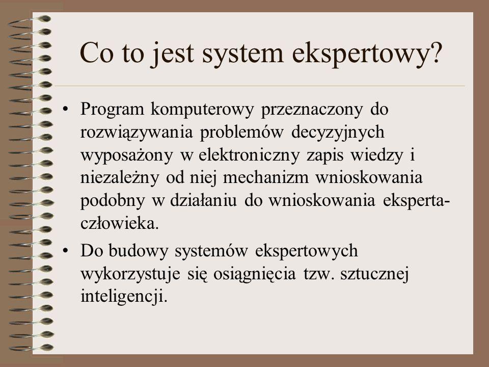 Co to jest system ekspertowy? Program komputerowy przeznaczony do rozwiązywania problemów decyzyjnych wyposażony w elektroniczny zapis wiedzy i niezal