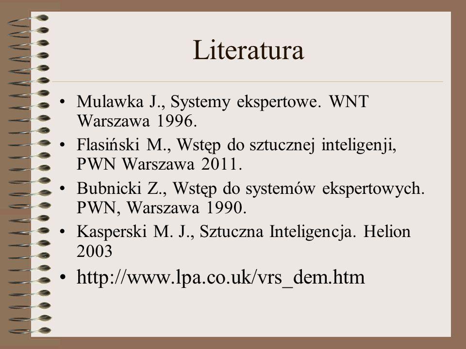 Literatura Mulawka J., Systemy ekspertowe. WNT Warszawa 1996. Flasiński M., Wstęp do sztucznej inteligenji, PWN Warszawa 2011. Bubnicki Z., Wstęp do s