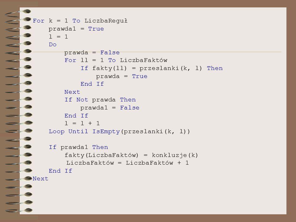For k = 1 To LiczbaReguł prawda1 = True l = 1 Do prawda = False For ll = 1 To LiczbaFaktów If fakty(ll) = przeslanki(k, l) Then prawda = True End If N