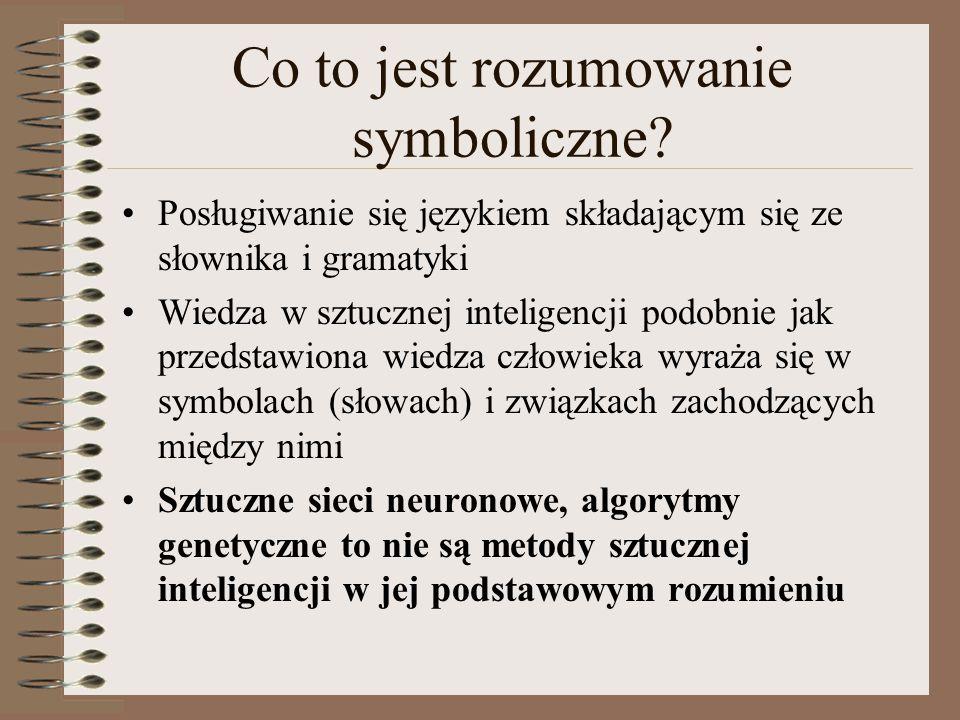 Co to jest rozumowanie symboliczne? Posługiwanie się językiem składającym się ze słownika i gramatyki Wiedza w sztucznej inteligencji podobnie jak prz