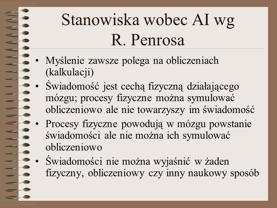 Stanowiska wobec AI wg R. Penrosa Myślenie zawsze polega na obliczeniach (kalkulacji) Świadomość jest cechą fizyczną działającego mózgu; procesy fizyc
